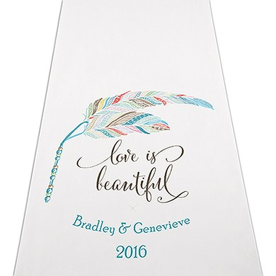 Feather Whimsy Personalised Aisle Runner