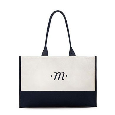 Classic Script Initial Tote  Navy  Letter A