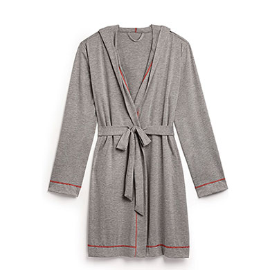 Saturday Hooded Lounge Robe  Gray With Red Stitching  Large  XLarge