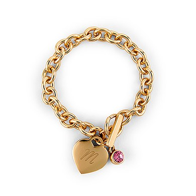 Matte Gold Toggle Charm Bracelet with Gemstone Charm  Diamond (april)