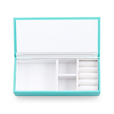 Vegan Leather Jewellery Box  Spa Blue with White