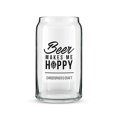 Beer Can Shaped Glass Personalised  Beer Makes Me Hoppy Printing
