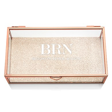 Large glass jewelry box rose gold glass keepsake box for Jewelry box with initials