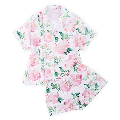 4bf937f309 Women s Personalized Satin Pajama Sleepwear Set - Pink Floral - The Knot  Shop