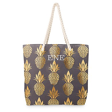 67cffbbb6135 Large Personalized Cotton Canvas Fabric Beach Tote Bag - Gold Pineapple