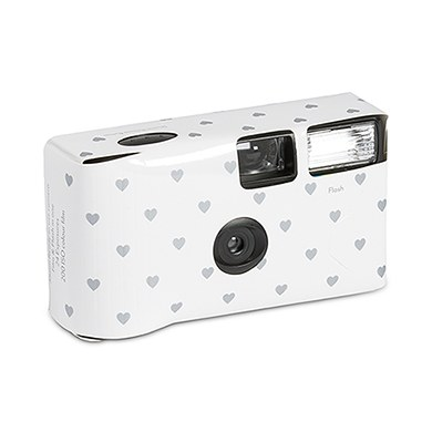 Image of Disposable Camera - White and Silver Hearts Design