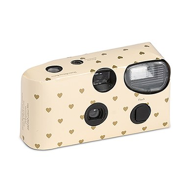Image of Disposable Camera - Ivory and Gold Hearts Design