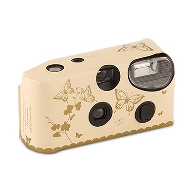 Image of Butterfly Garden Ivory And Gold Disposable Camera
