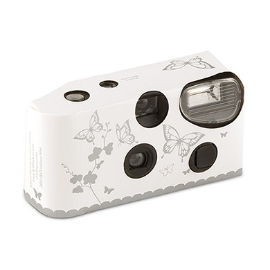 Image of Butterfly Garden White And Silver Disposable Camera