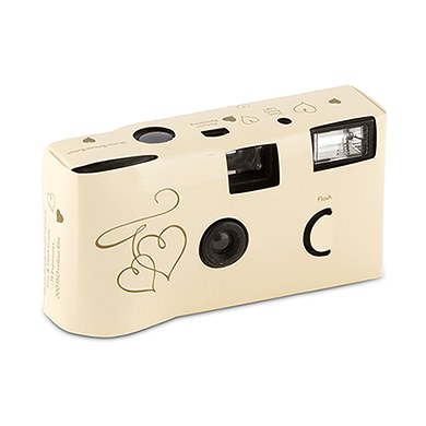 Image of Disposable Camera with Flash - Gold Enchanted Hearts