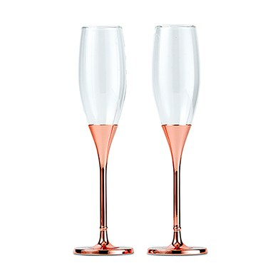 Rose Gold Chamagne Glasses With Rhinestones Weddingstar