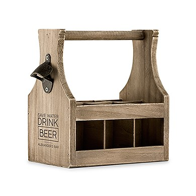 Wood Beer Bottle Caddy with Opener  Save Water Drink Beer