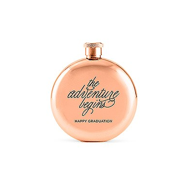 The Adventure Begins Round Rose Gold 3oz Hip Flask