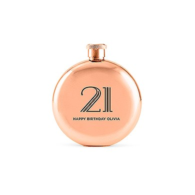 Polished Rose Gold Hip Flask  Vintage Glam Etching