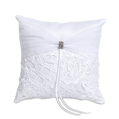 Bridal Tapestry Square Ring Cushion  Ivory