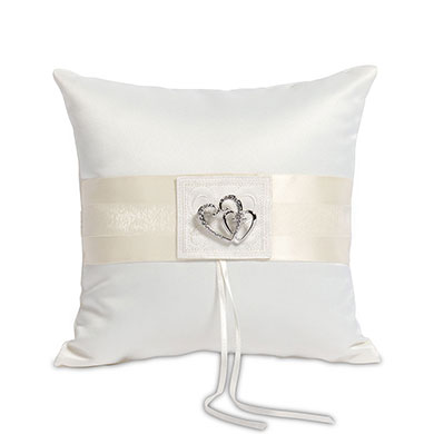 Classic Double Heart Square Ring Cushion  White