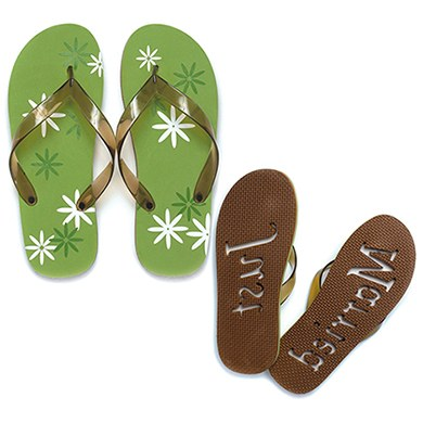 graphic daisy just married flip flop sandals the knot shop. Black Bedroom Furniture Sets. Home Design Ideas