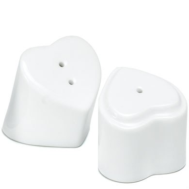 White Interlocking Hearts Salt and Pepper Shakers