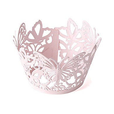 Image of Beautiful Butterfly Filigree Paper Cupcake Wrappers - Lavender Shimmer