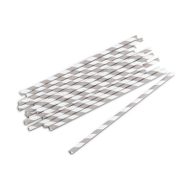 Image of 75 Candy Striped Paper Straws - Black