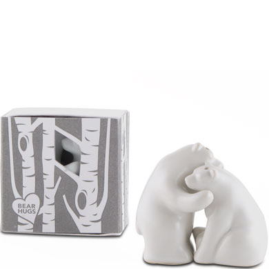 Ceramic bear salt and pepper shakers favor gift boxed the knot shop - Salt and pepper hug ...