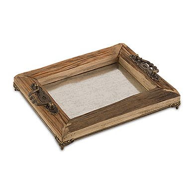 rustic wood decorative tray with ornamental handles large - Decorative Tray