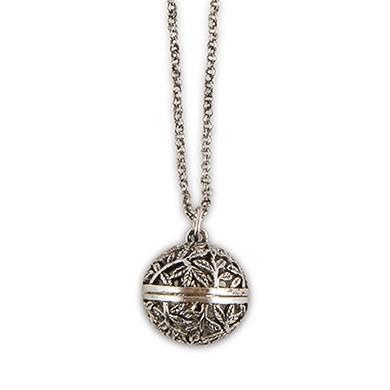antique silver locket necklace filigree vine orb design confetti