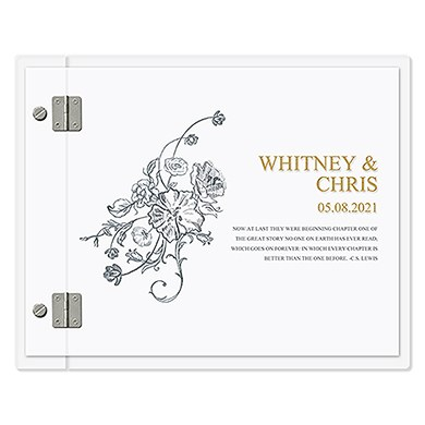 Party Food Personalised Clear Acrylic Wedding Guest Book - Antique Chic