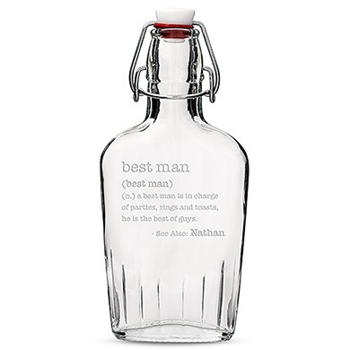 Personalised Glass Hip Flask Best Man or Groomsman Etched