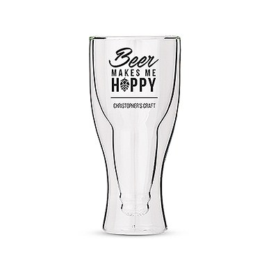 Personalised Double Walled Beer Glass Beer Makes Me Hoppy Print