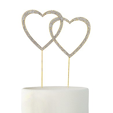 Crystal Rhinestone Double Heart Cake Topper  Gold