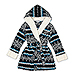 Women's Personalized Embroidered Fluffy Plush Robe with Hood - Nordic Snowflake