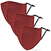 Variety 3-Pack Adult Reusable, Washable 3 Ply Cloth Face Masks with Filter Pockets - Red