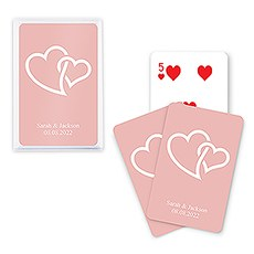 Unique Custom Playing Card Favor - Linked Double Hearts
