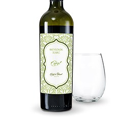 Love Bird Damask Wine Label