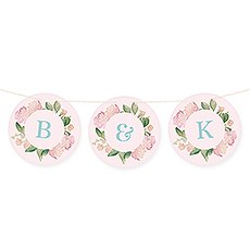 Custom Round Pennant Flag Party Bunting Banner - Garden Party