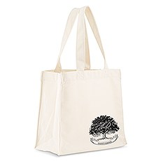 Custom Personalized White Cotton Canvas Fabric Tote Bag- Oak Tree
