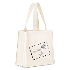 Custom Personalized White Cotton Canvas Fabric Tote Bag- French Post Card