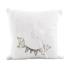 """Simply Sweet"" Birds with Love Pennant Personalized Ring Pillow"