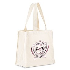 Custom Personalized White Cotton Canvas Fabric Tote Bag- Regal Monogram