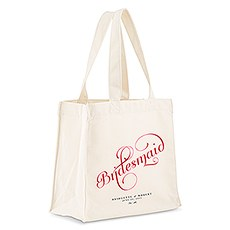 Custom Personalized White Cotton Canvas Fabric Bridal Tote Bag- Expressions