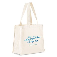 Custom Personalized White Cotton Canvas Fabric Tote Bag- Aqueous