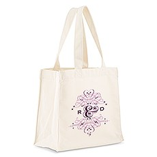 Custom Personalized White Cotton Canvas Fabric Tote Bag- Fancy Monogram