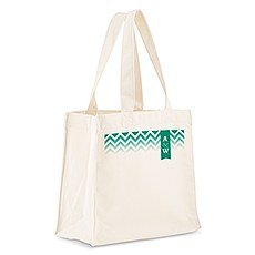 Custom Personalized White Cotton Canvas Fabric Tote Bag- Chevron Monogram