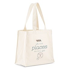 Custom Personalized White Cotton Canvas Fabric Tote Bag- Oh The Places We Will Go