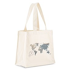 Custom Personalized White Cotton Canvas Fabric Tote Bag-World Map