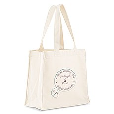 Custom Personalized White Cotton Canvas Fabric Tote Bag- Wanderlust