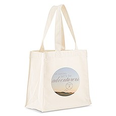 Custom Personalized White Cotton Canvas Fabric Tote Bag- Let's Be Adventurers
