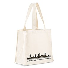 Custom Personalized White Cotton Canvas Fabric Tote Bag- City Skyline