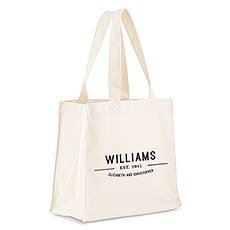 Custom Personalized White Cotton Canvas Fabric Tote Bag- Bistro Bliss
